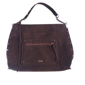 Faux Suede Black Studded Shoulder Bag Hobo Purse